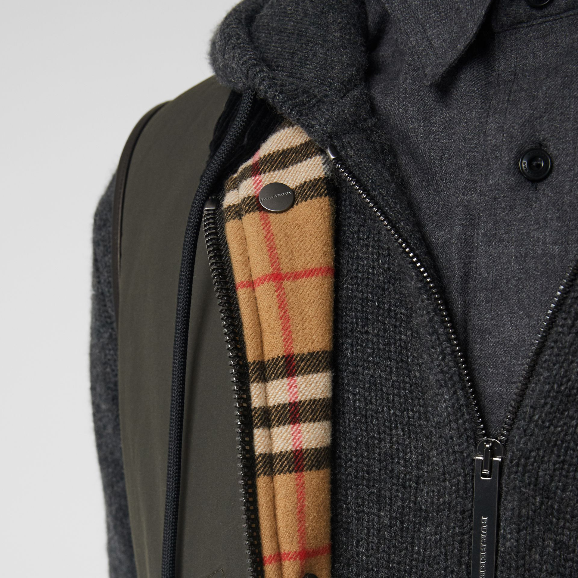 Detachable Hood Waxed Cotton Gilet in Olive - Men | Burberry - gallery image 1