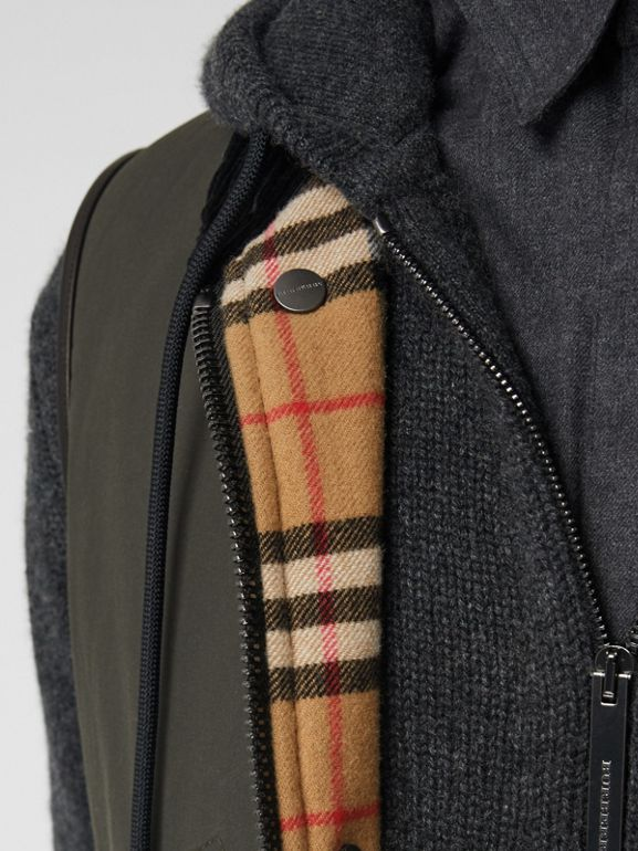 Detachable Hood Waxed Cotton Gilet in Olive - Men | Burberry - cell image 1