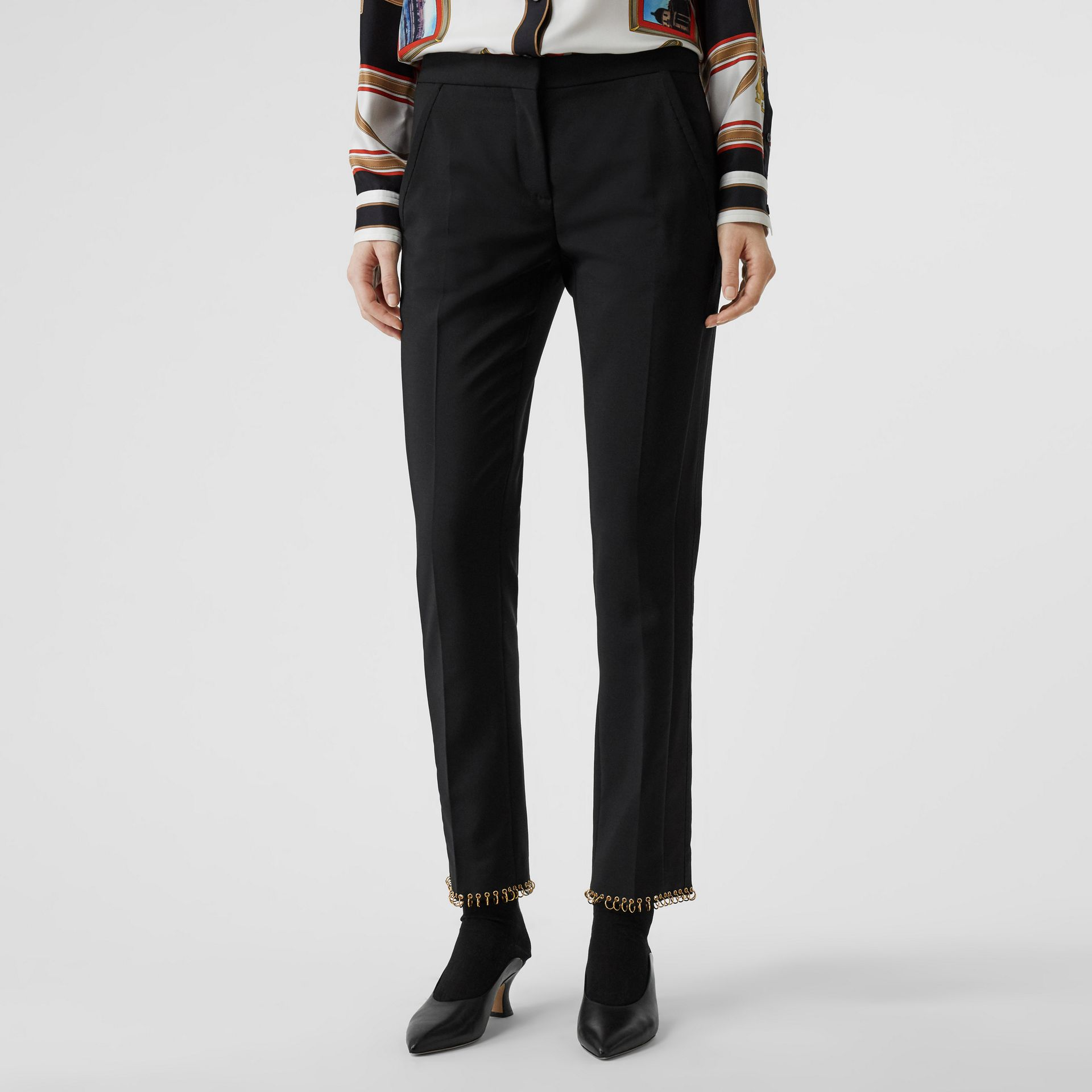 Ring-pierced Wool Tailored Trousers in Black - Women | Burberry Australia - gallery image 4