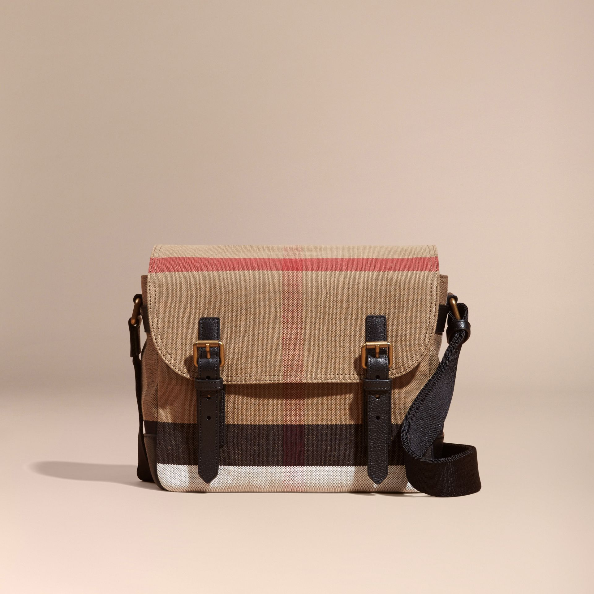 Small Canvas Check Messenger Bag in Black - Men | Burberry - gallery image 7