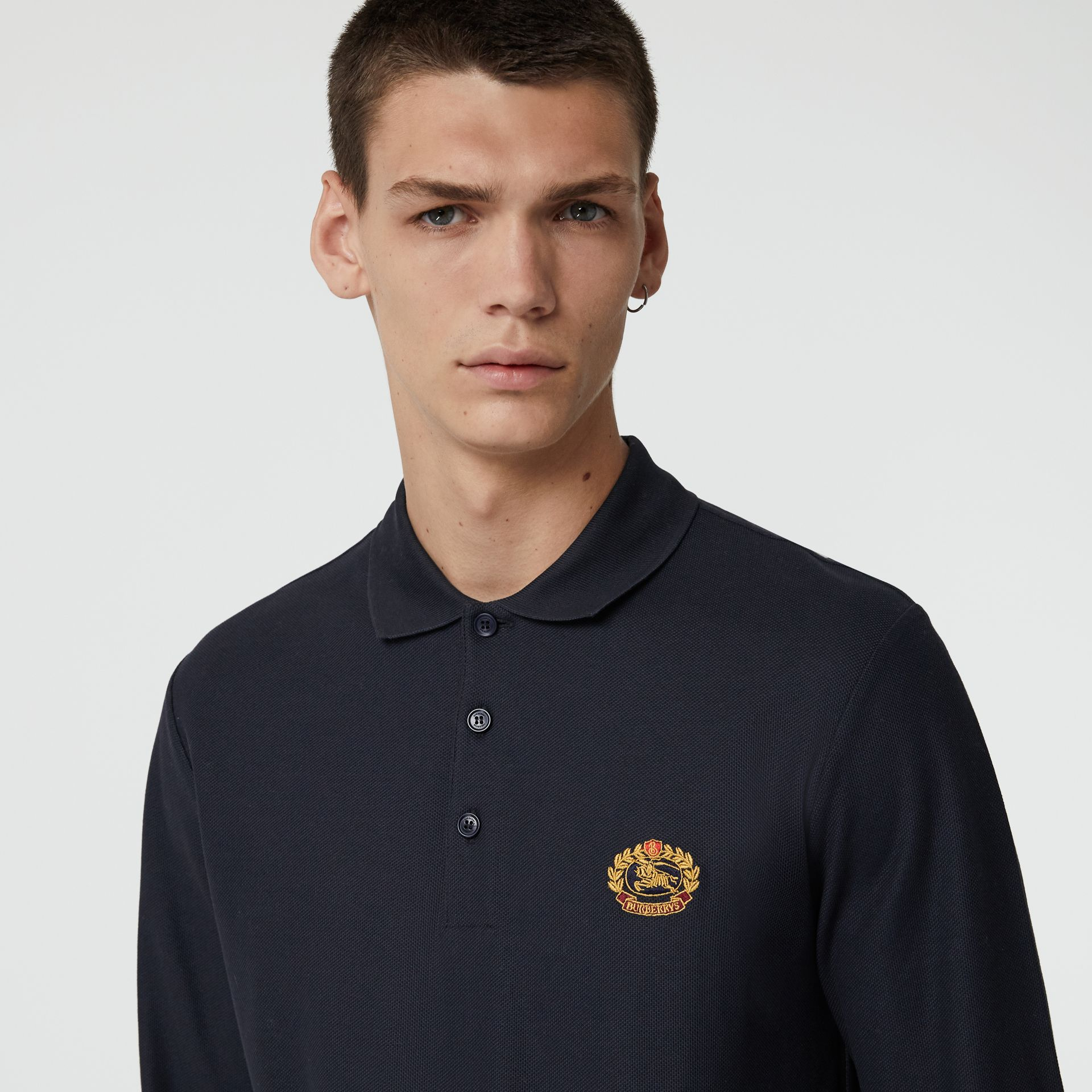 Long-sleeve Archive Logo Cotton Piqué Polo Shirt in Dark Navy - Men | Burberry Singapore - gallery image 1