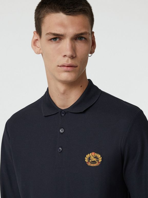Long-sleeve Archive Logo Cotton Piqué Polo Shirt in Dark Navy - Men | Burberry Singapore - cell image 1