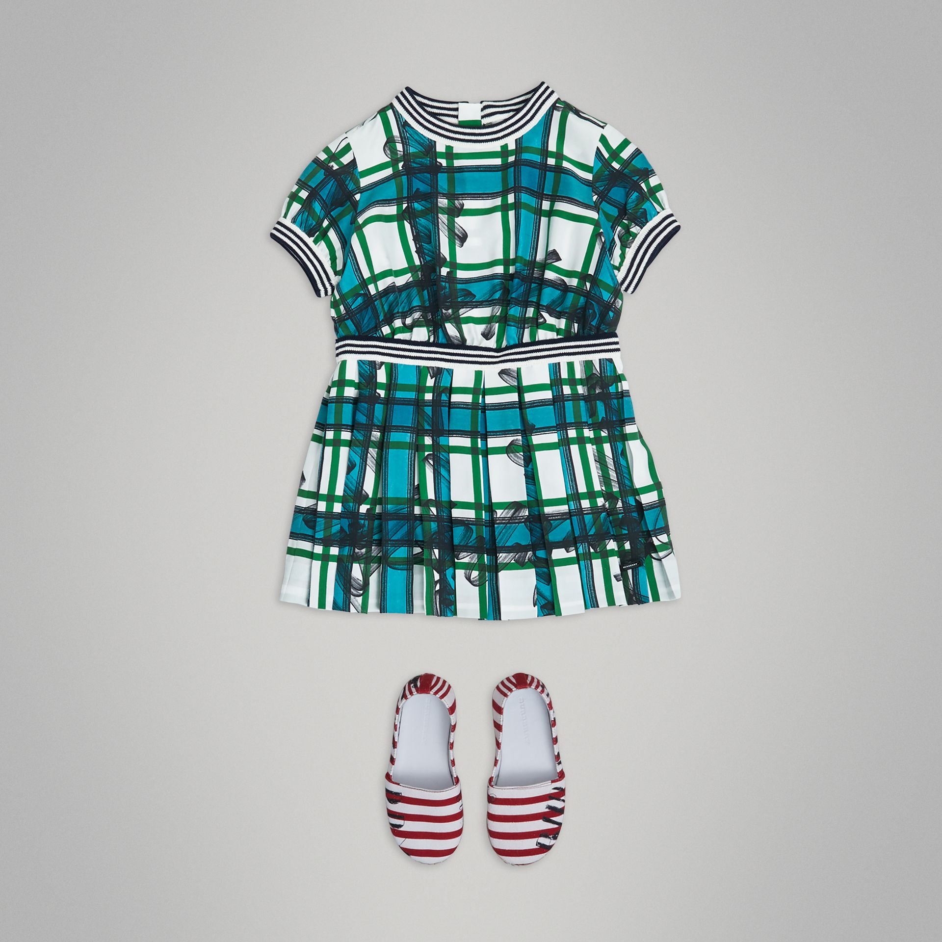 Scribble Check Pleated Silk Dress in Aqua Blue - Children | Burberry - gallery image 2