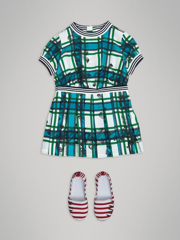 Scribble Check Pleated Silk Dress in Aqua Blue - Children | Burberry - cell image 2
