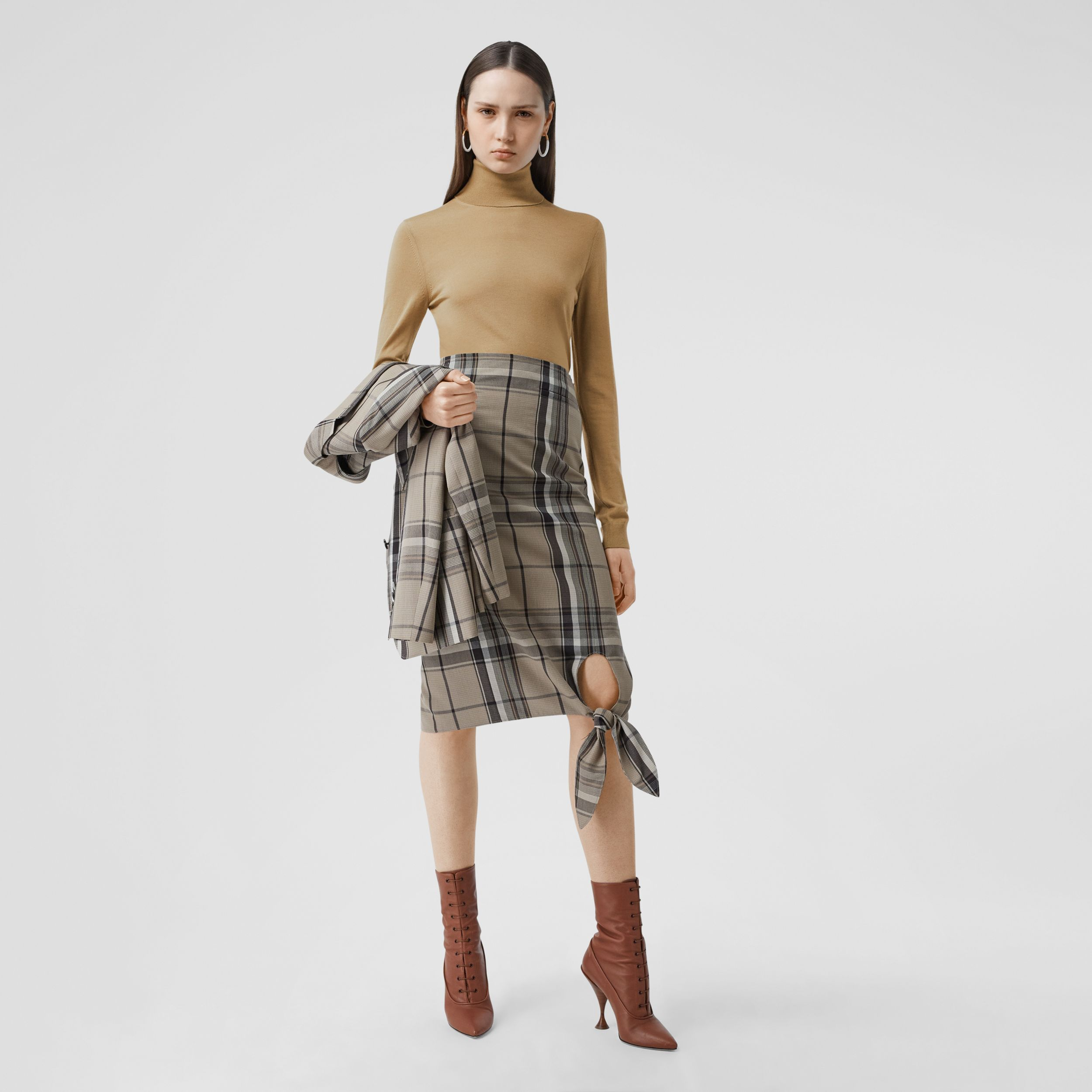 Two-tone Merino Wool Silk Roll-neck Sweater in Camel - Women | Burberry - 1