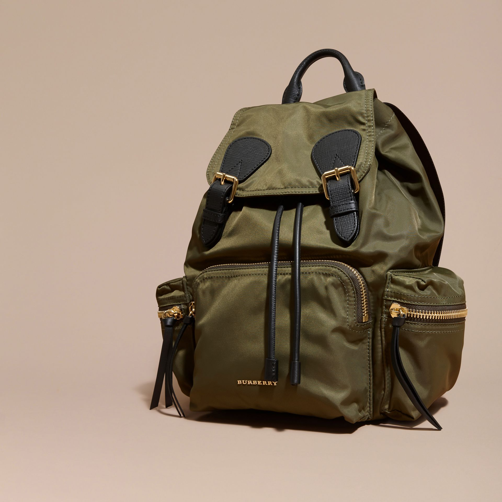 The Medium Rucksack in Technical Nylon and Leather in Canvas Green - gallery image 8