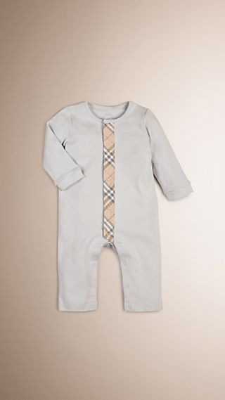 Check Trim Cotton Jumpsuit