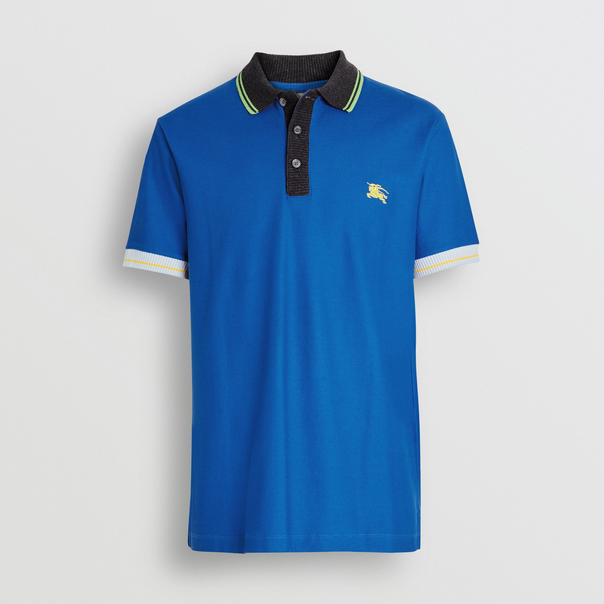 Tipped Cotton Piqué Polo Shirt in Cerulean Blue - Men | Burberry - gallery image 3