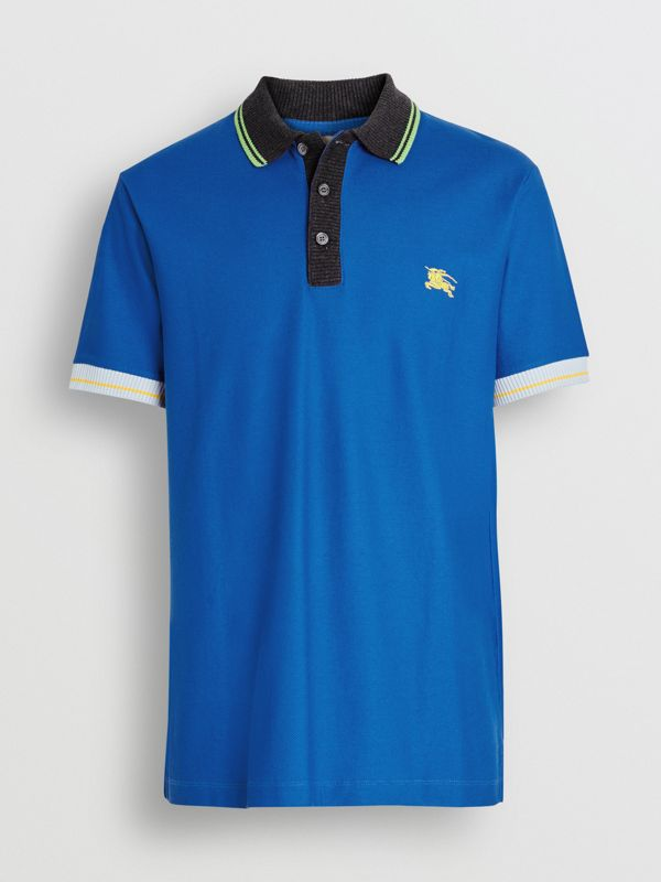 Tipped Cotton Piqué Polo Shirt in Cerulean Blue - Men | Burberry - cell image 3