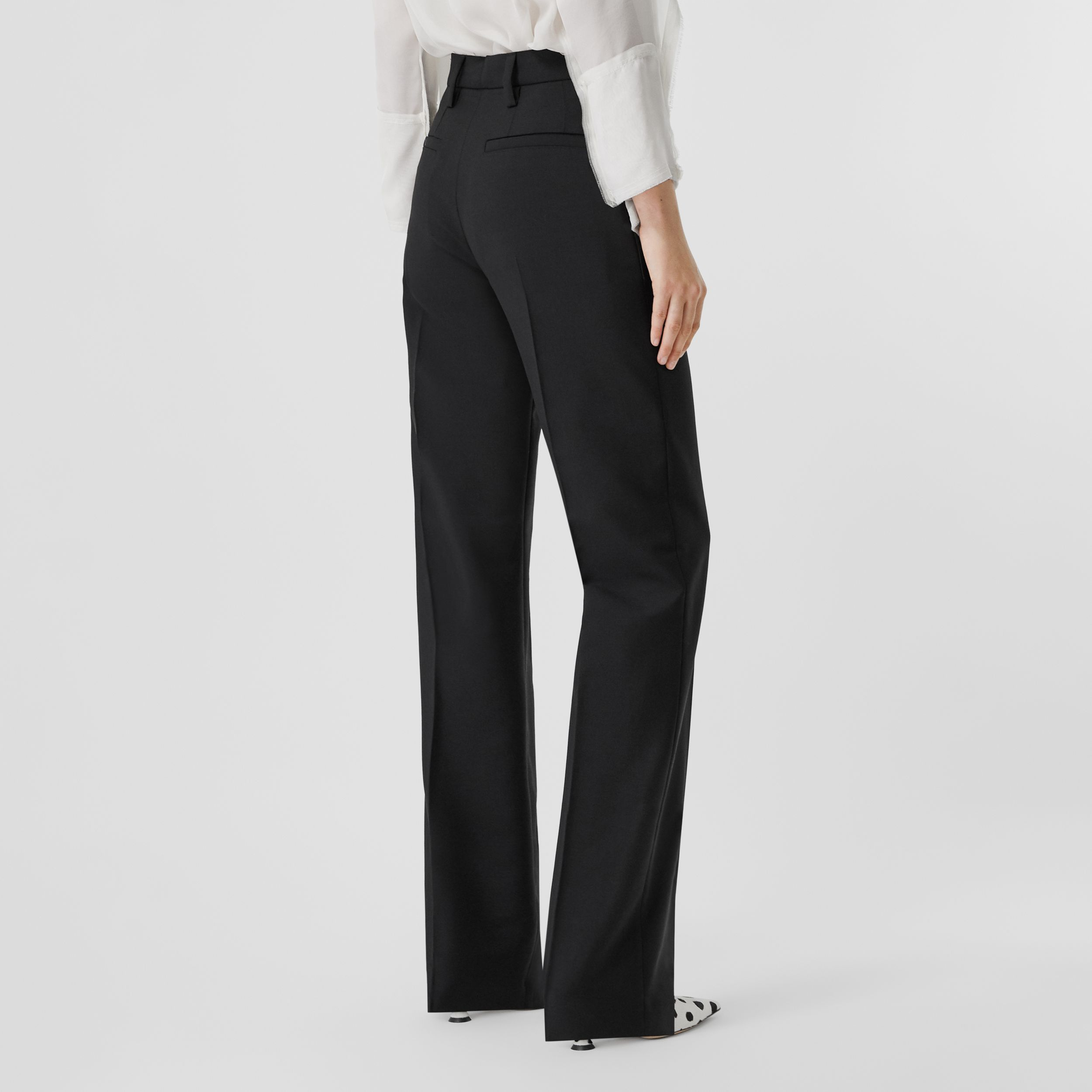 Pocket Detail Wool Mohair Tailored Trousers in Black - Women | Burberry - 3