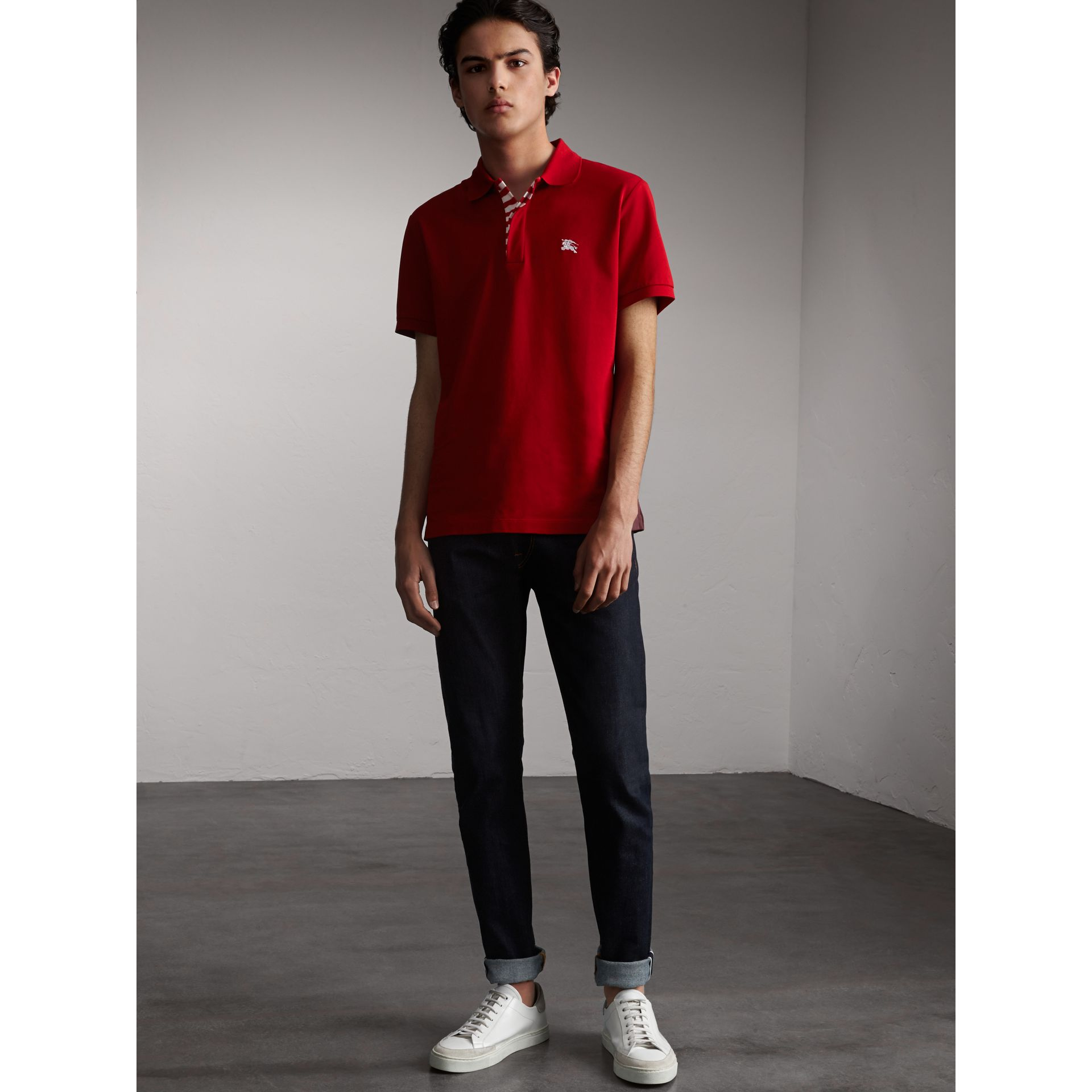 Striped Placket Cotton Piqué Polo Shirt in Military Red - gallery image 1