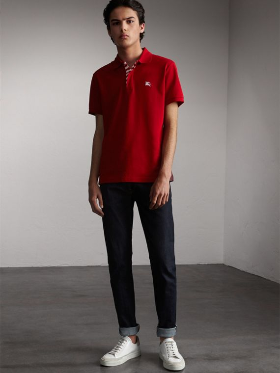 Striped Placket Cotton Piqué Polo Shirt Military Red