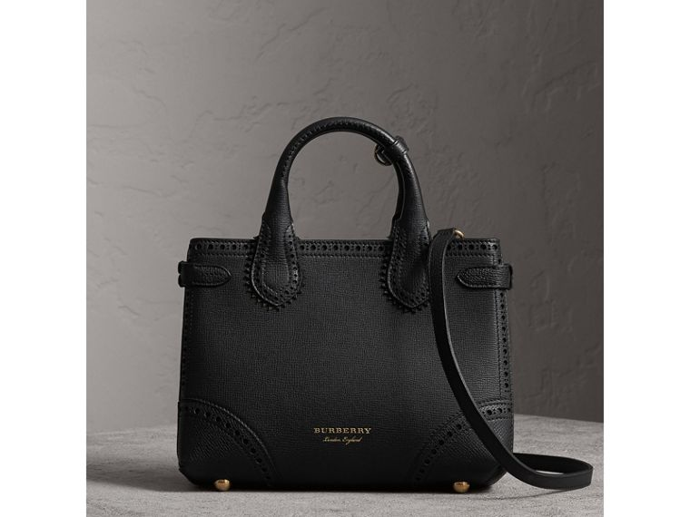 The Small Banner in Brogue Detail Leather in Black - Women | Burberry United Kingdom - cell image 4
