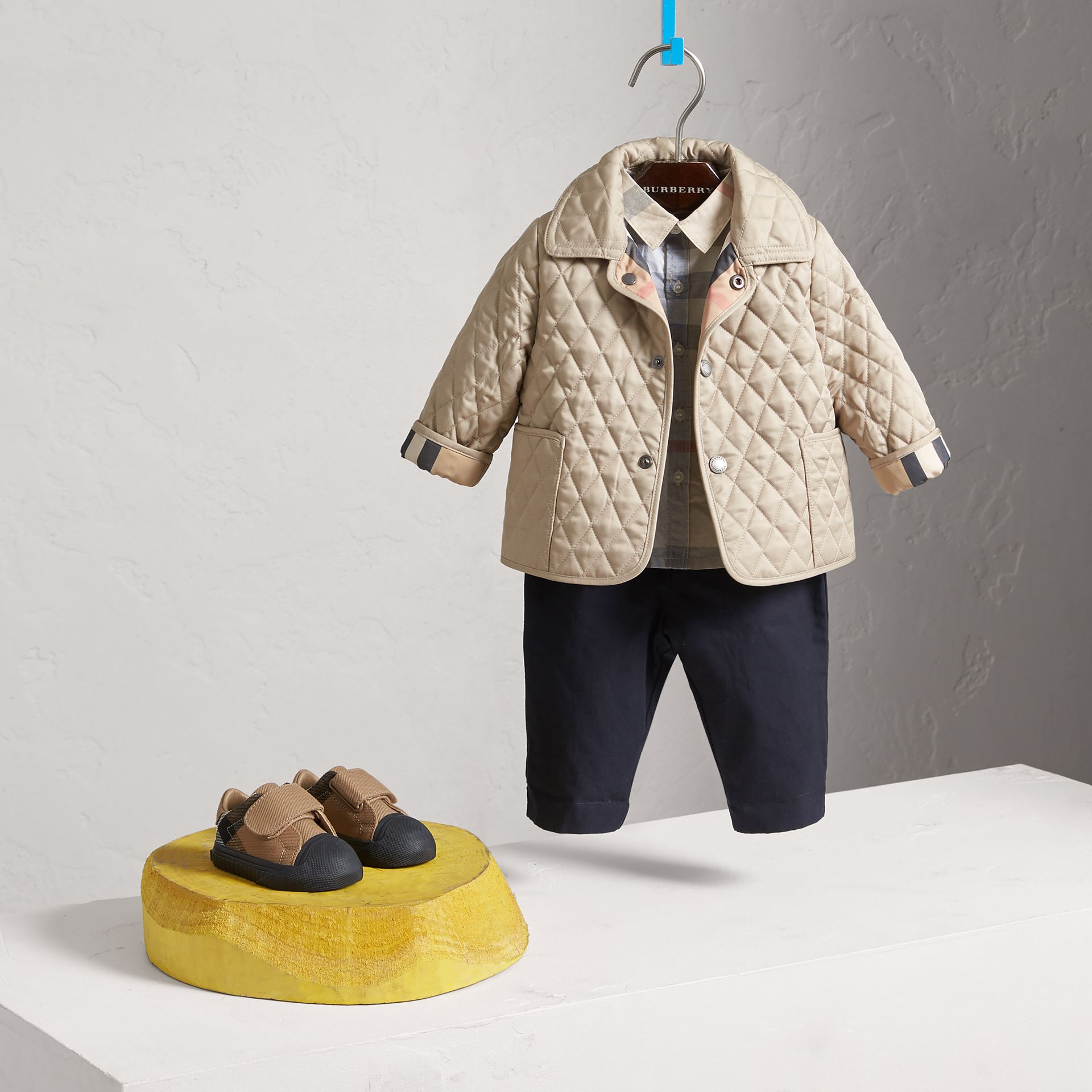 Check Detail Diamond Quilted Jacket in Mink | Burberry Canada - gallery image 2