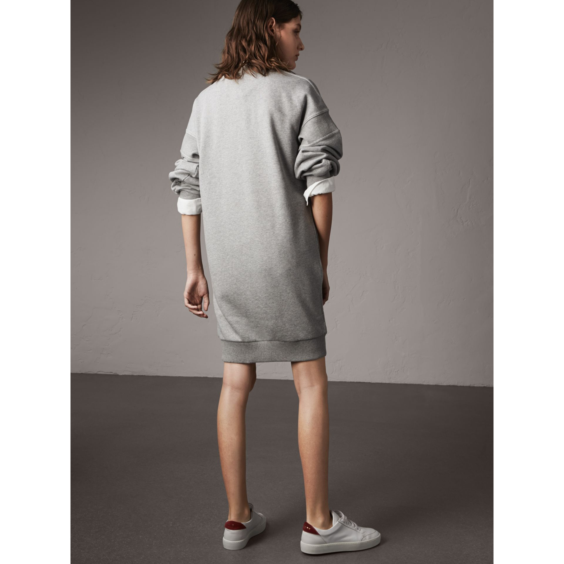 Embroidered Motif Cotton Jersey Sweatshirt Dress in Pale Grey Melange - Women | Burberry - gallery image 3