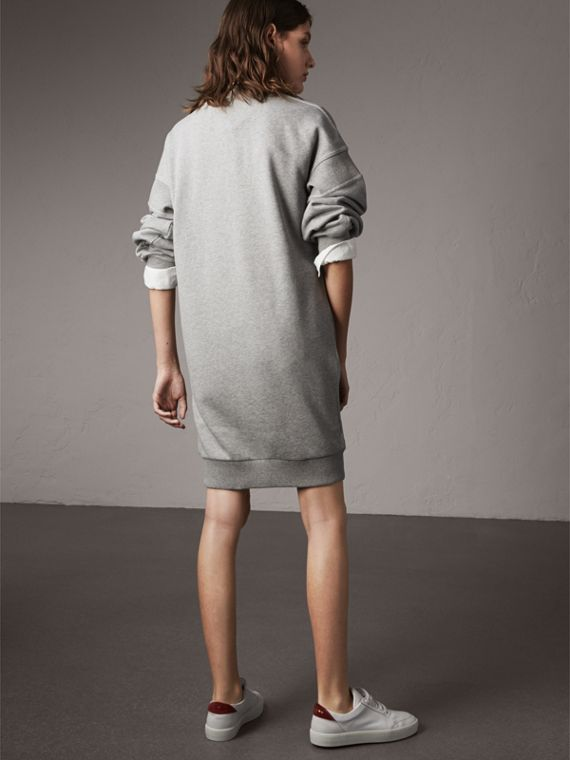 Embroidered Motif Cotton Jersey Sweatshirt Dress in Pale Grey Melange - Women | Burberry - cell image 2