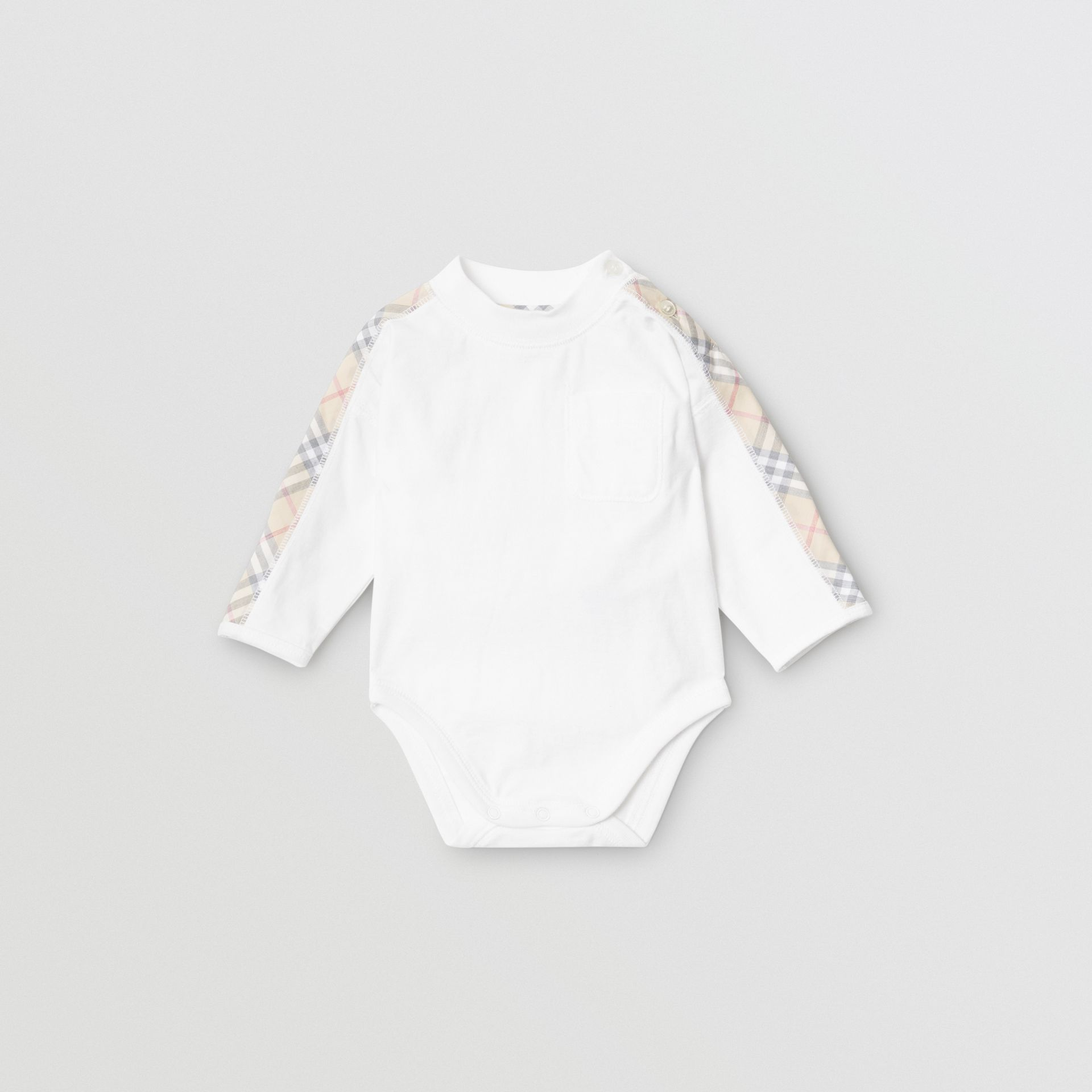 Check Detail Cotton Three-piece Baby Gift Set in White - Children | Burberry - gallery image 2