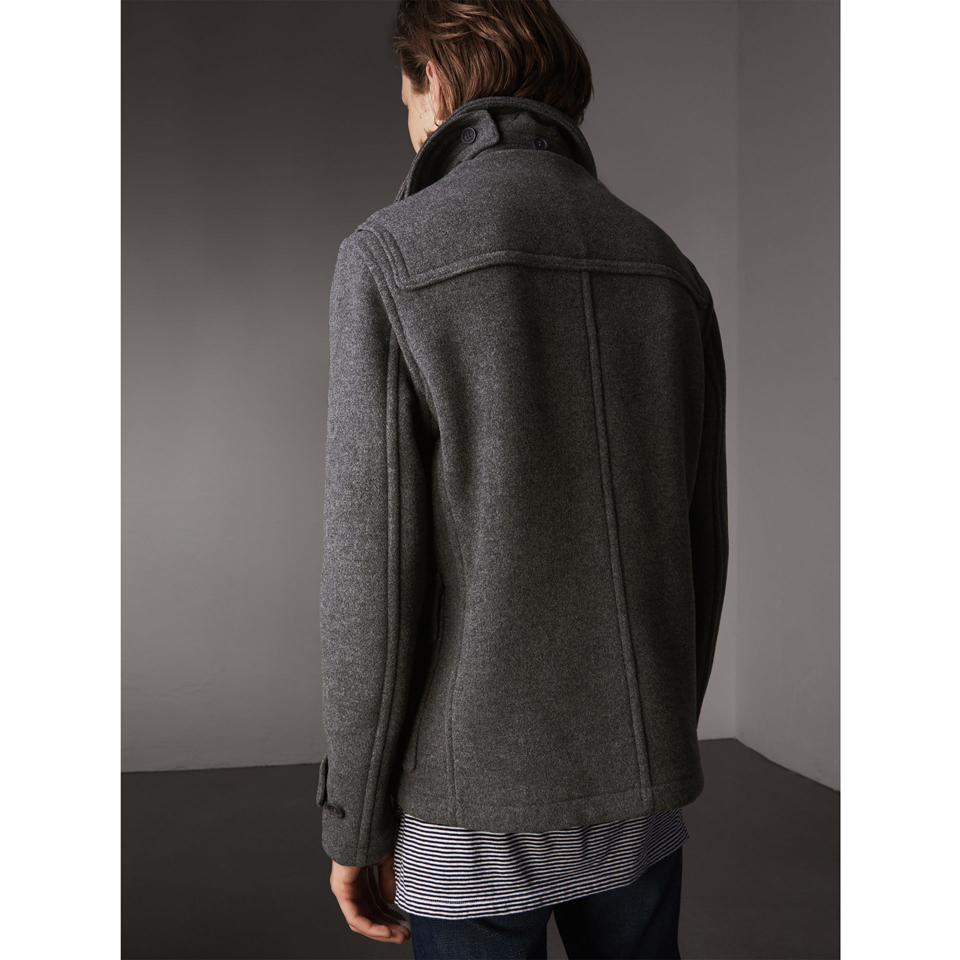 Wool Duffle Jacket with Detachable Hood in Mid Grey Melange - Men | Burberry - gallery image 3
