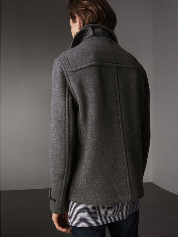 Wool Duffle Jacket with Detachable Hood in Mid Grey Melange - Men | Burberry - cell image 2
