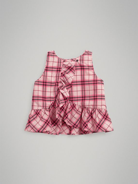 Ruffle Detail Check Cotton Top in Bright Rose - Girl | Burberry United States - cell image 3