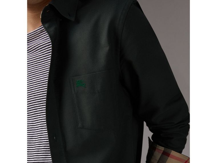 Check Detail Cotton Oxford Shirt in Dark Forest Green - Men | Burberry Hong Kong - cell image 1