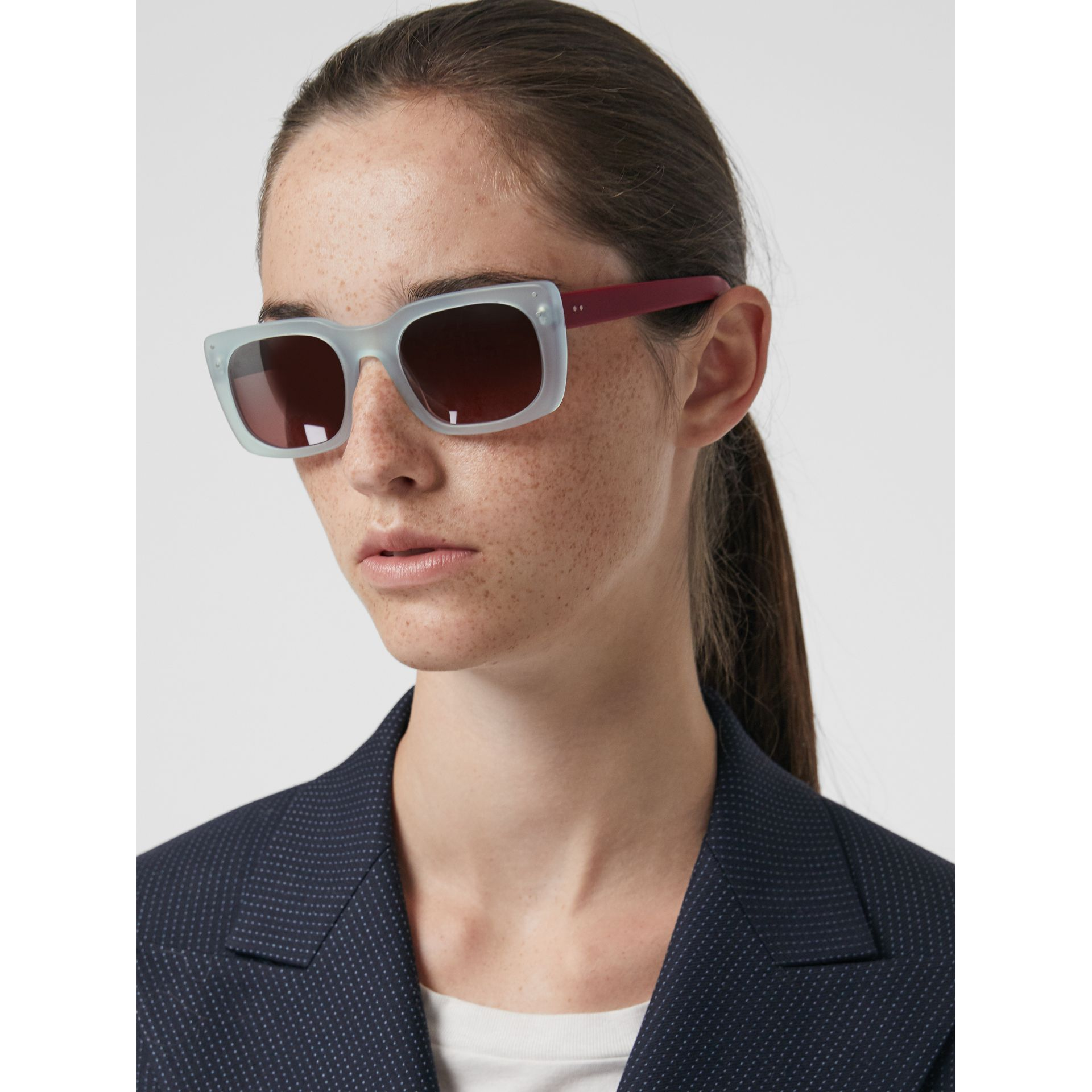 Square Frame Sunglasses in Blue - Women | Burberry - gallery image 3