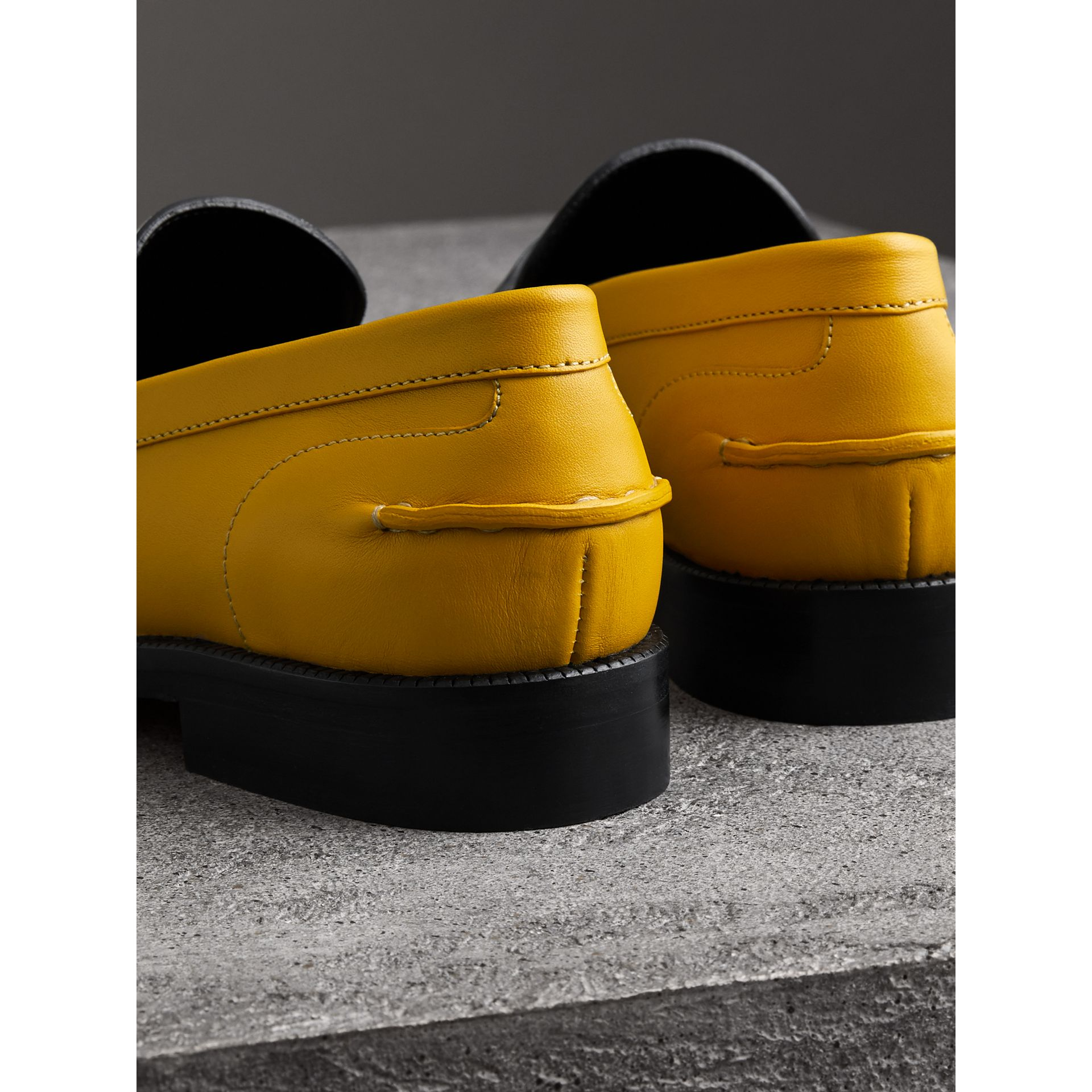 Woven-toe Leather Loafers in Saffron Yellow - Women | Burberry - gallery image 3