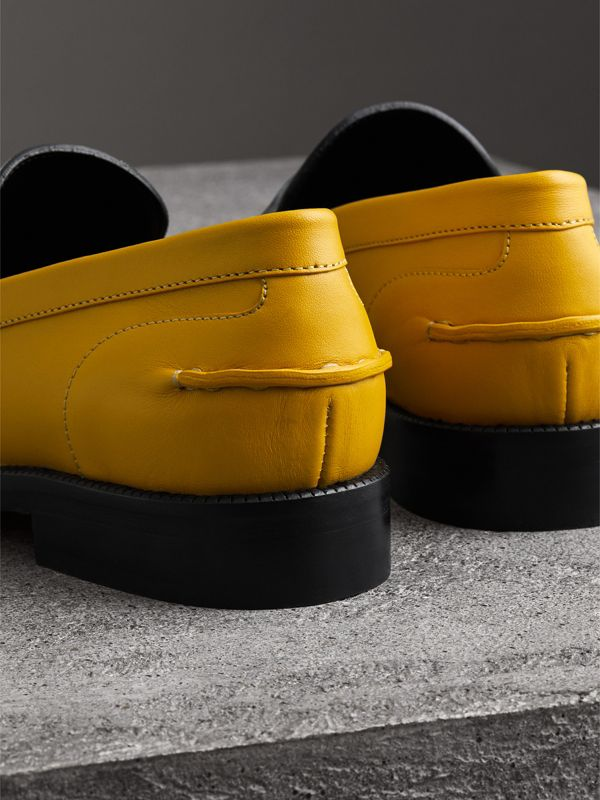 Woven-toe Leather Loafers in Saffron Yellow - Women | Burberry - cell image 3