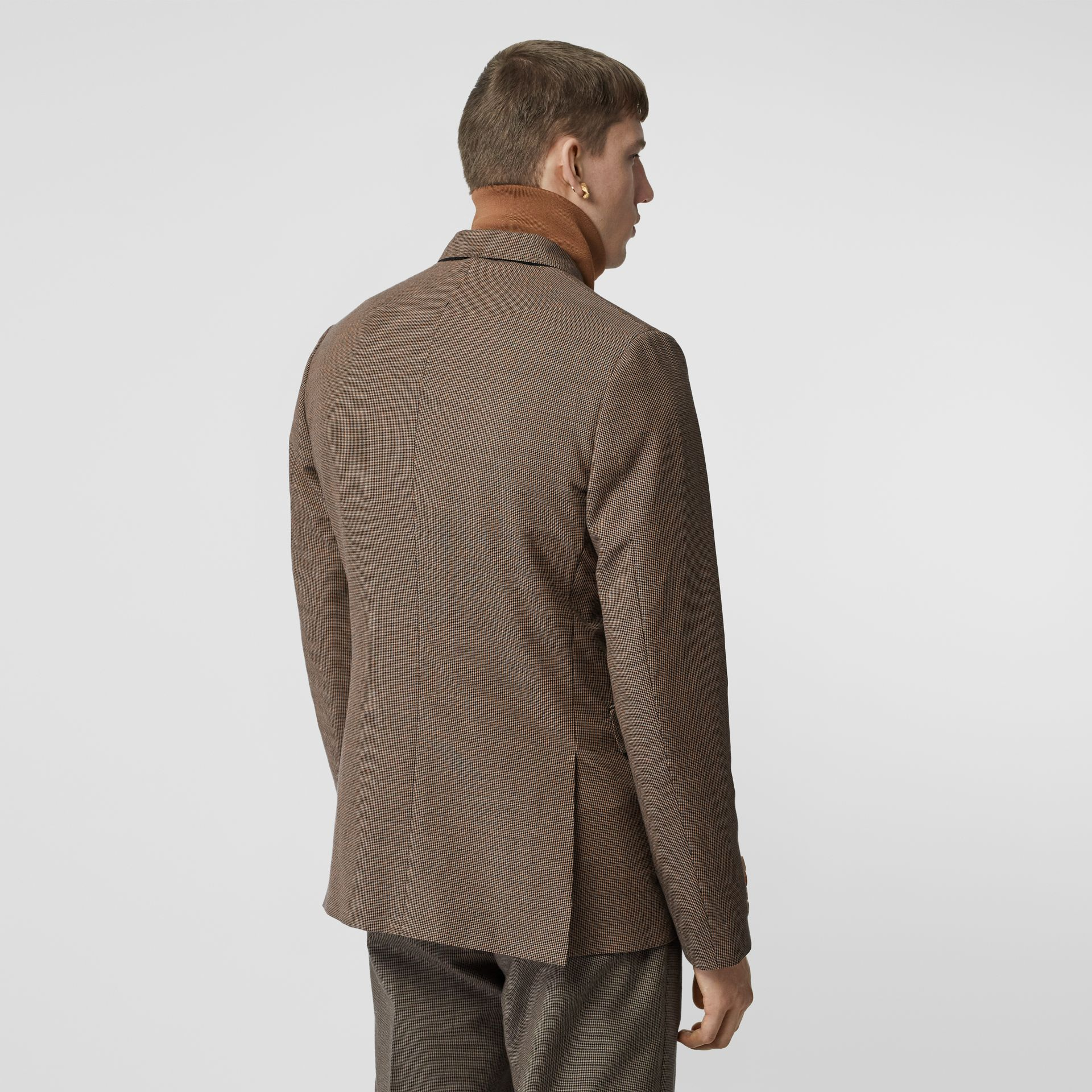 Slim Fit Logo Print Cotton Wool Blend Tailored Jacket in Beige - Men | Burberry - gallery image 2