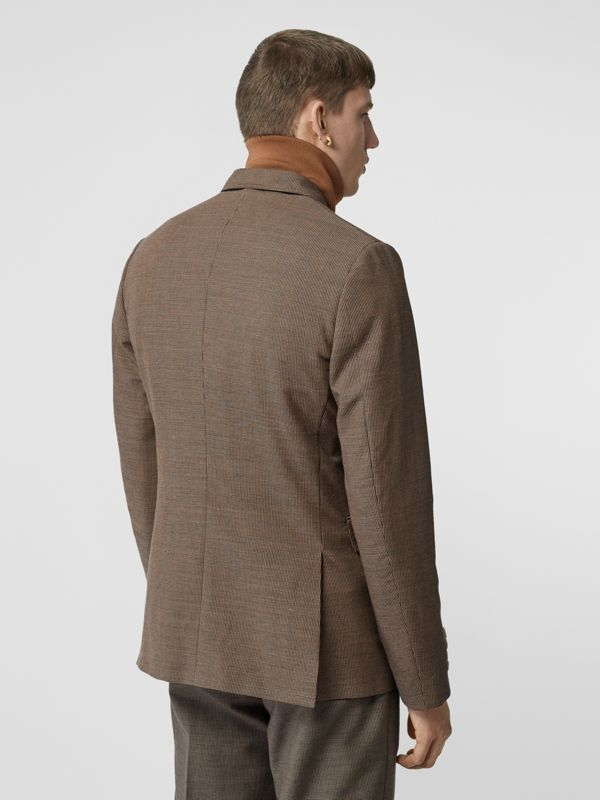 Slim Fit Logo Print Cotton Wool Blend Tailored Jacket in Beige - Men | Burberry - cell image 2