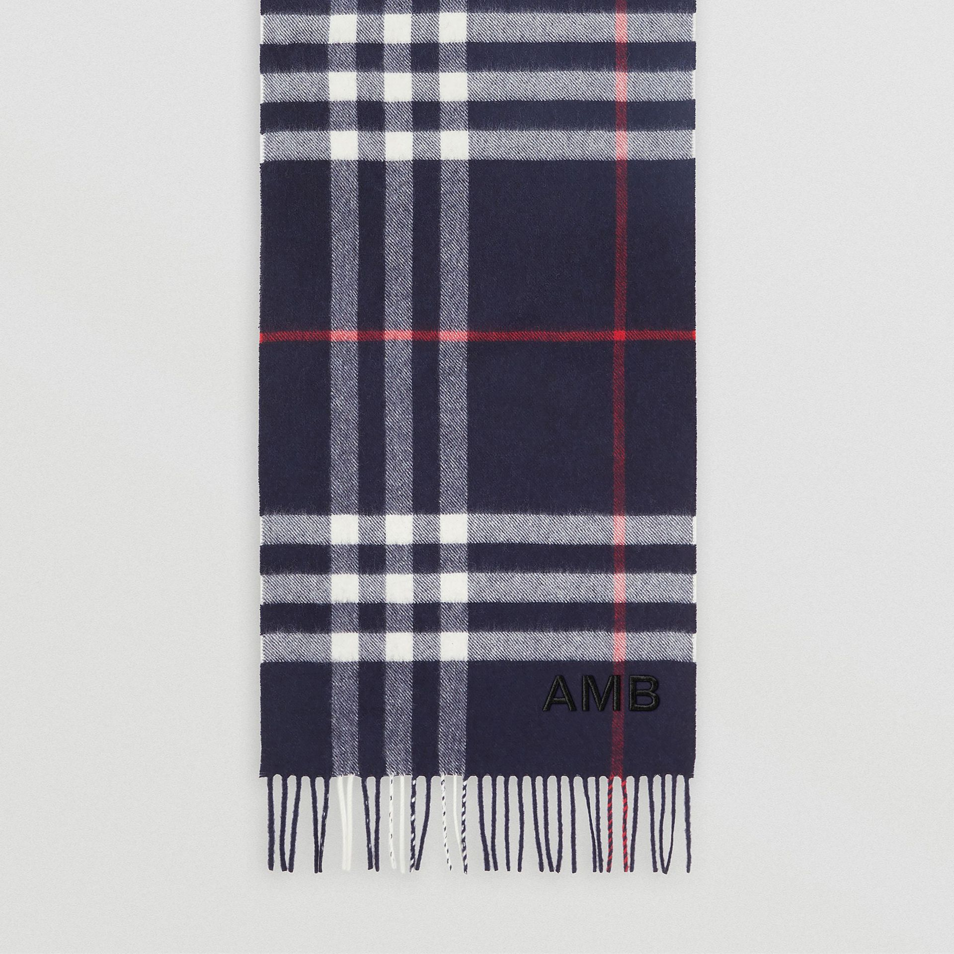 The Classic Check Cashmere Scarf in Navy | Burberry - gallery image 8