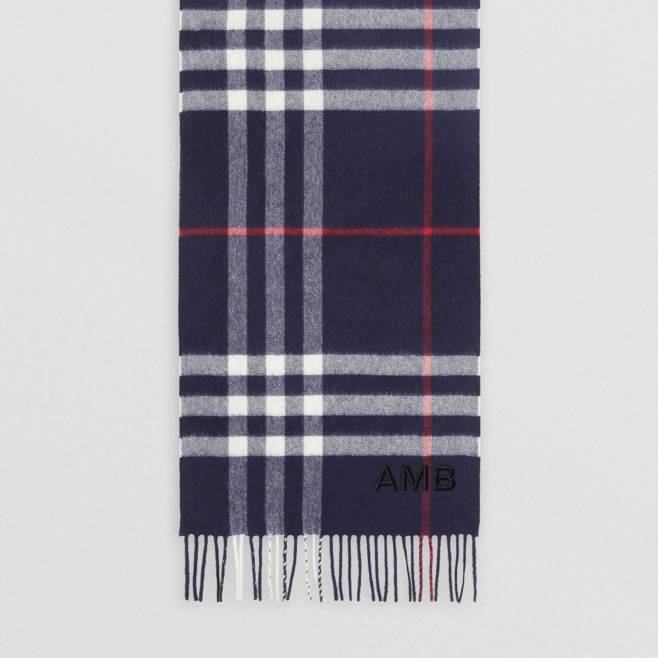 The Classic Check Cashmere Scarf in Navy | Burberry - 4