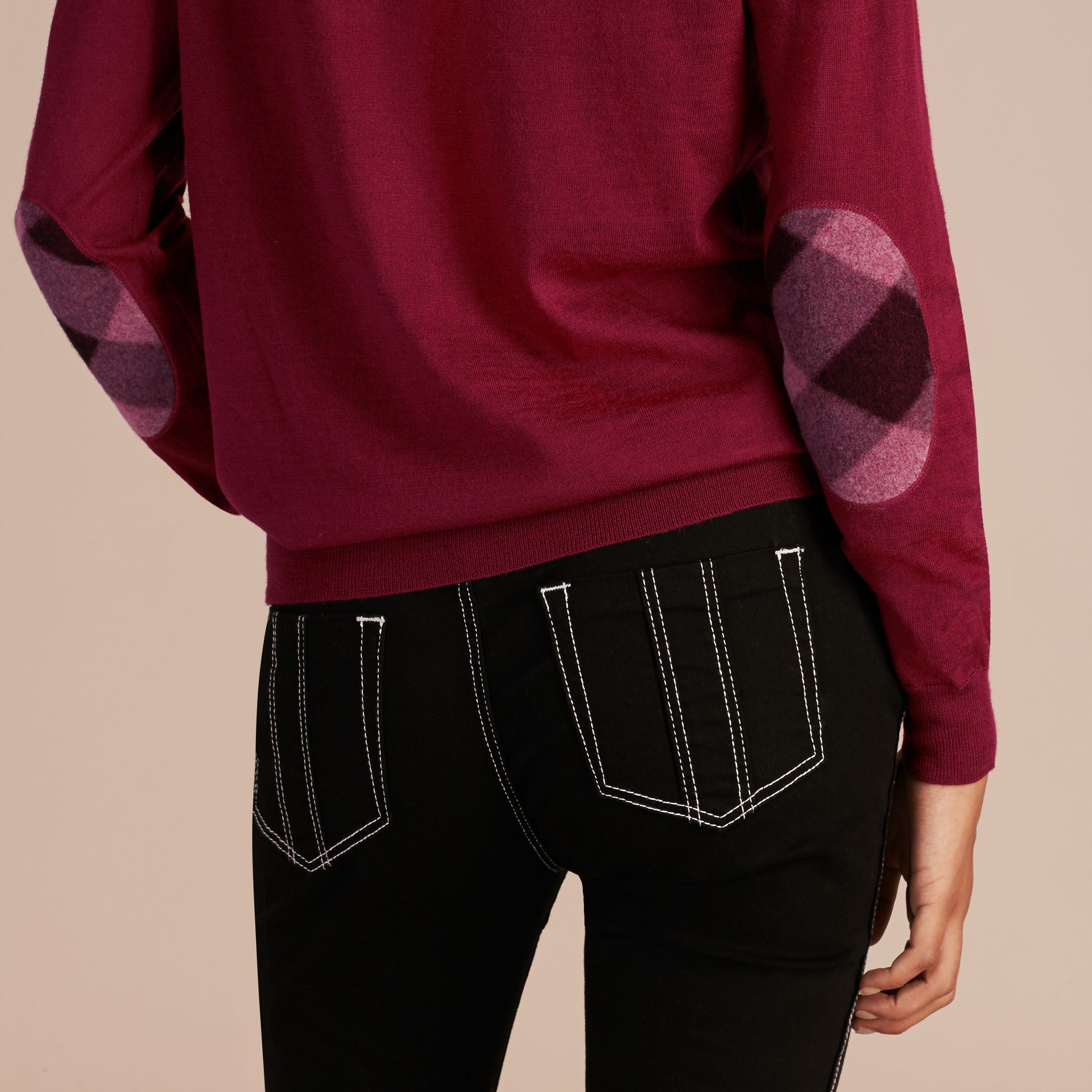 Crimson Check Detail Merino Wool Crew Neck Sweater Crimson - gallery image 5