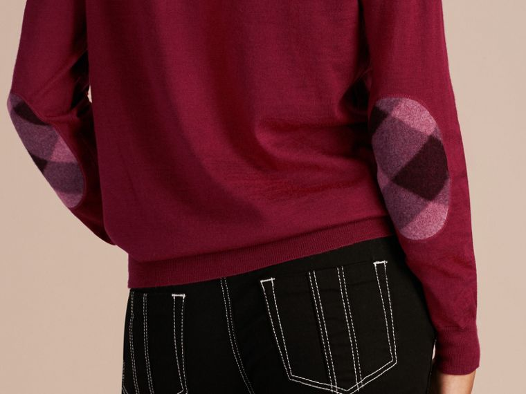 Crimson Check Detail Merino Wool Crew Neck Sweater Crimson - cell image 4