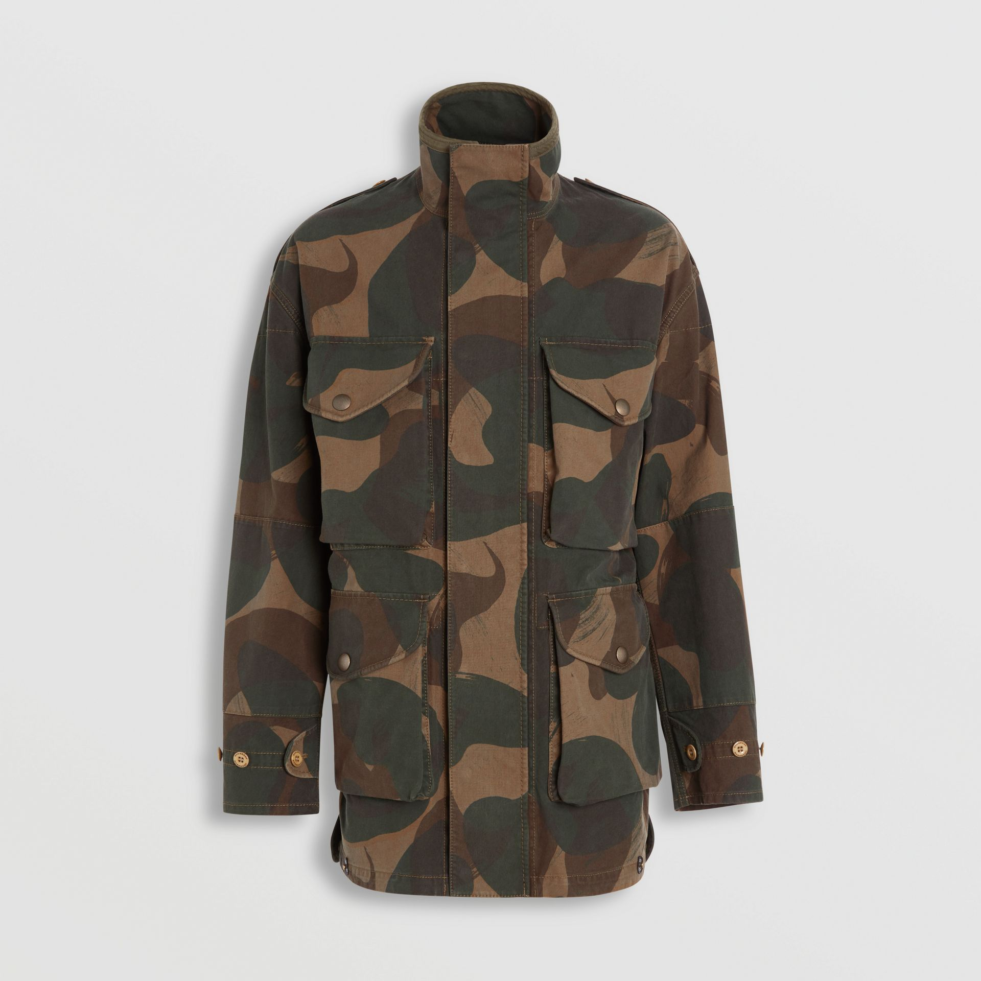 Camouflage Print Cotton Canvas Field Jacket in Khaki - Men | Burberry - gallery image 3