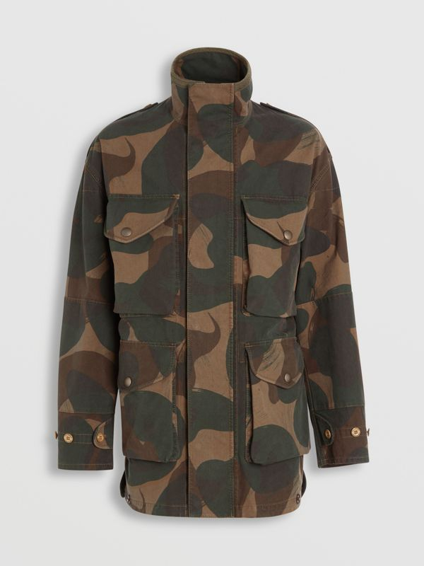 Camouflage Print Cotton Canvas Field Jacket in Khaki - Men | Burberry Australia - cell image 3
