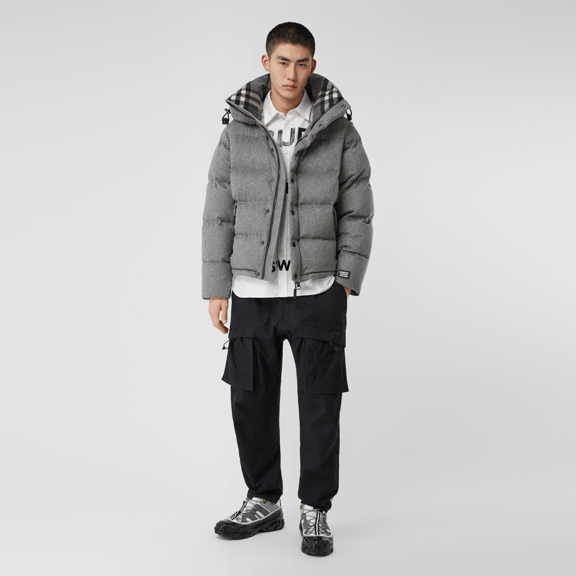 Detachable Sleeve Cashmere Hooded Puffer Jacket in Mid Grey Melange - Men | Burberry - gallery image 0