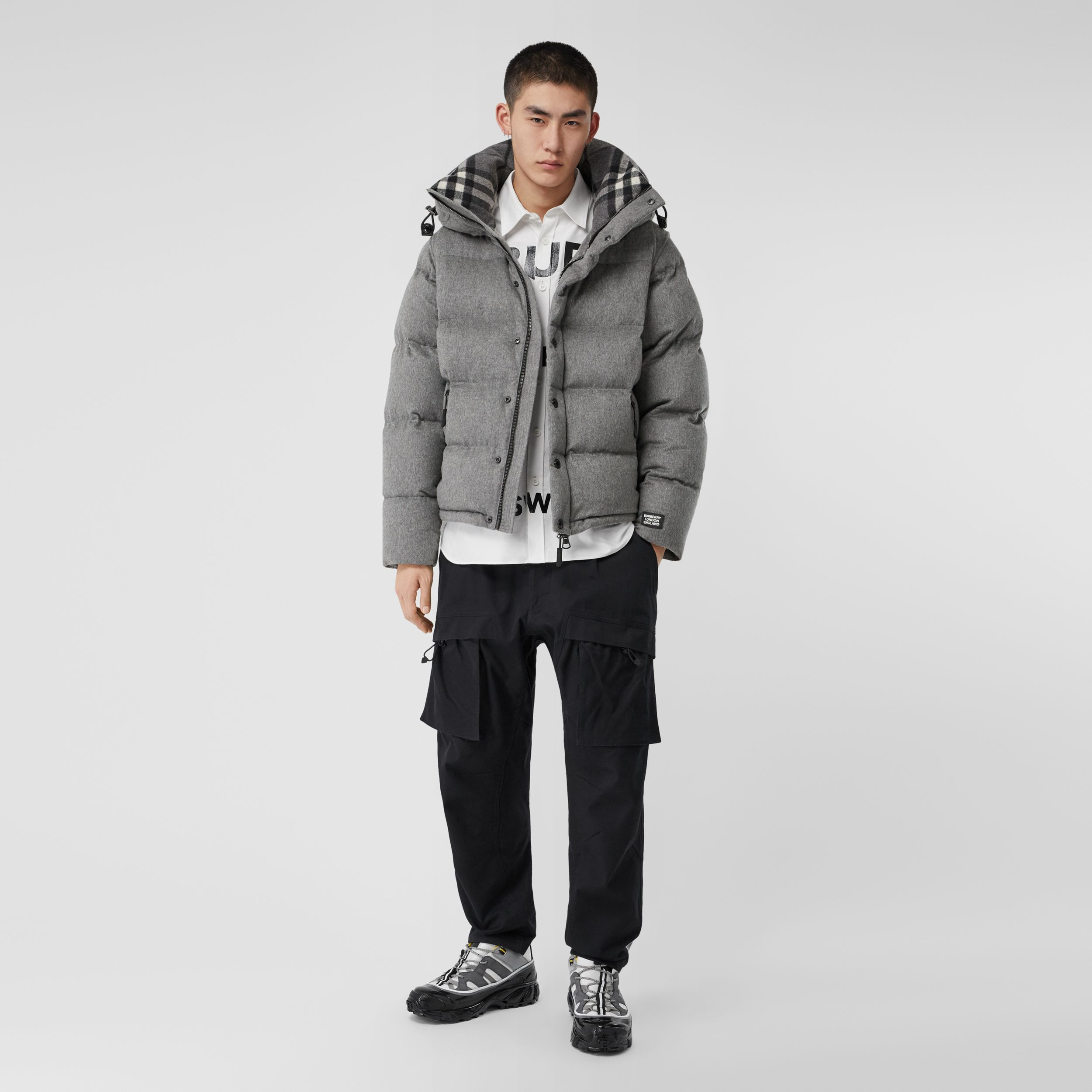 Detachable Sleeve Cashmere Hooded Puffer Jacket in Mid Grey Melange - Men | Burberry United States - 1