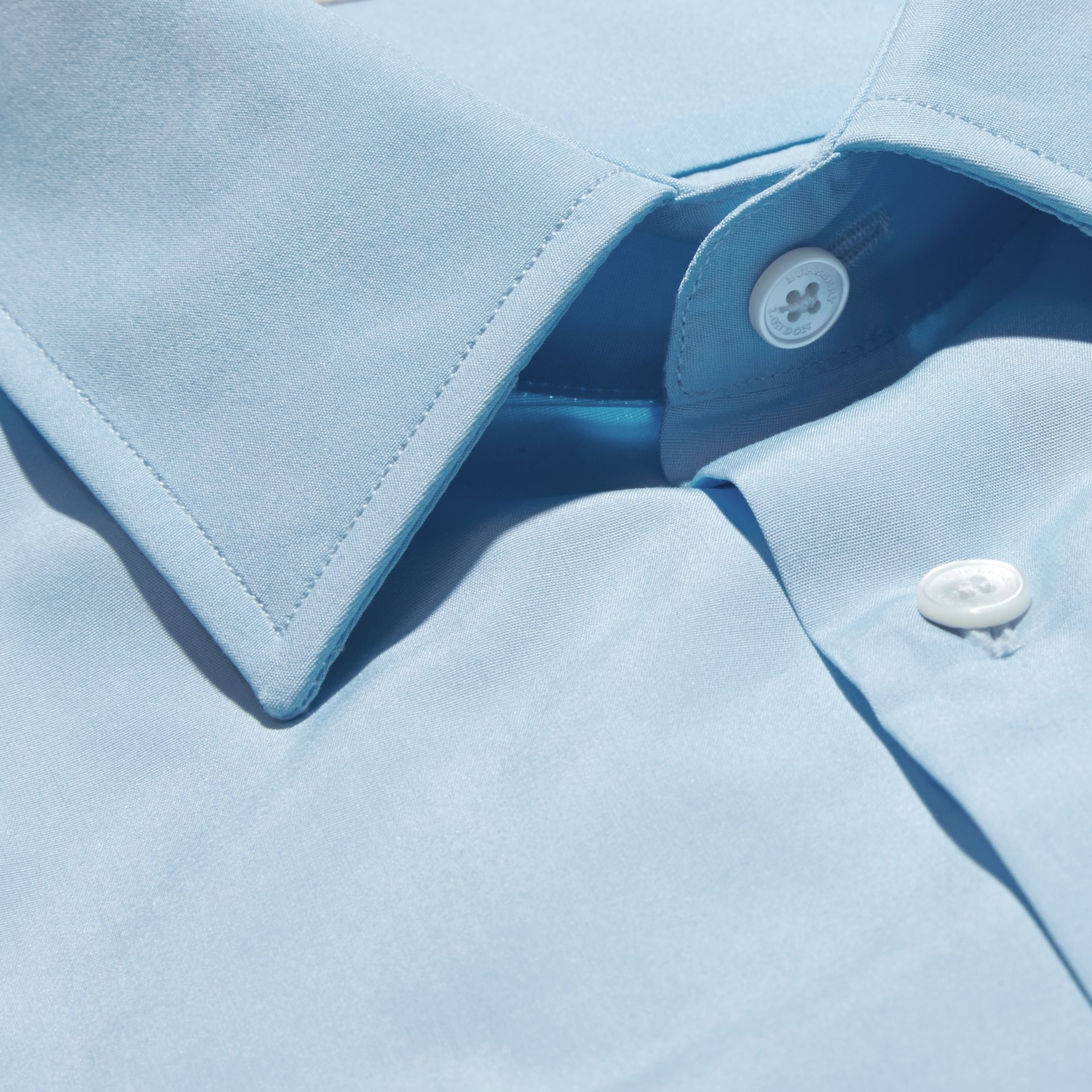 Slim Fit Cotton Poplin Shirt in City Blue - Men | Burberry Singapore - gallery image 2