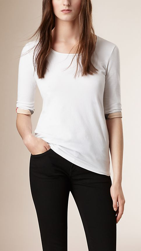 White Check Cuff Stretch-Cotton Top - Image 1