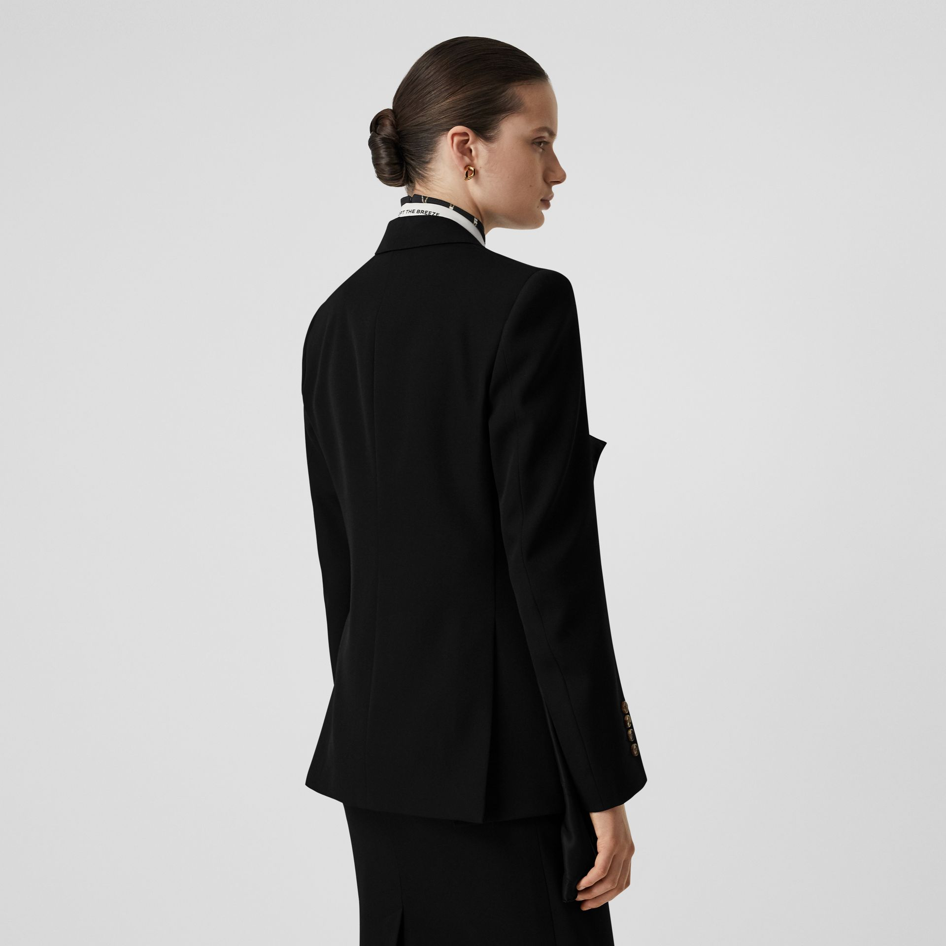 Logo Panel Detail Wool Tailored Jacket in Black - Women | Burberry - gallery image 2