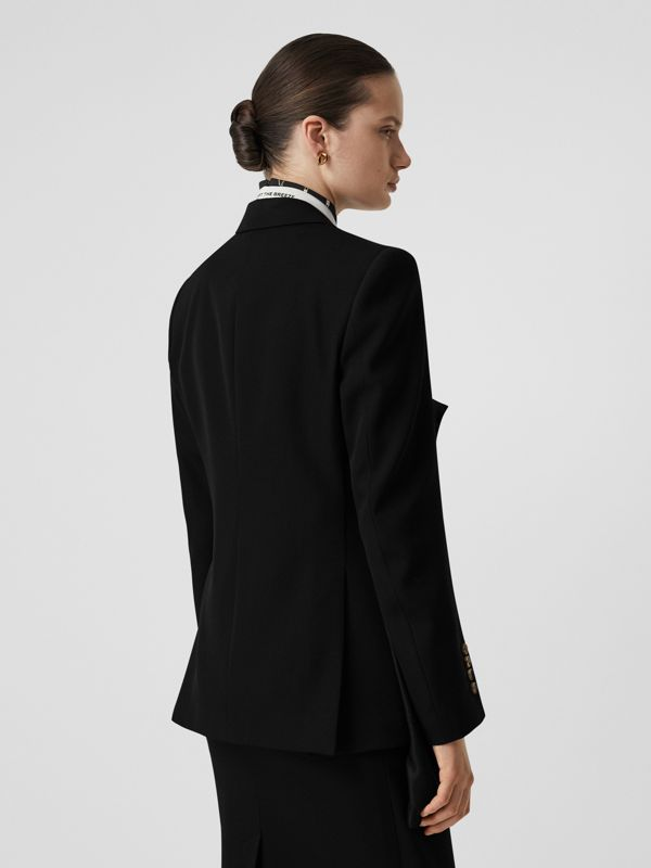 Logo Panel Detail Wool Tailored Jacket in Black - Women | Burberry United Kingdom - cell image 2