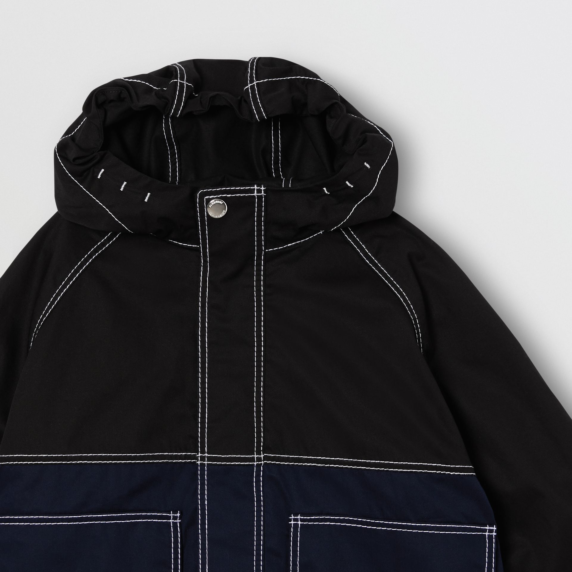 Topstitched Cotton Hooded Jacket in Black - Children | Burberry United Kingdom - gallery image 4