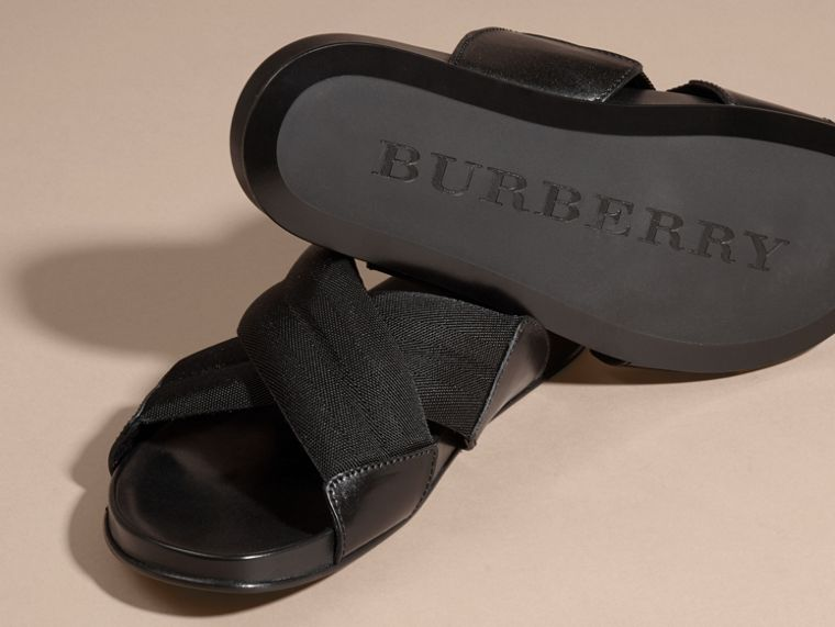 Black Check Detail Technical Web and Leather Sandals - cell image 4