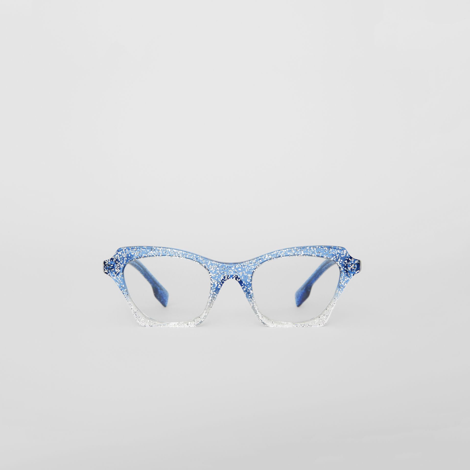 Glitter Detail Butterfly Optical Frames in Blue - Women | Burberry United Kingdom - gallery image 0