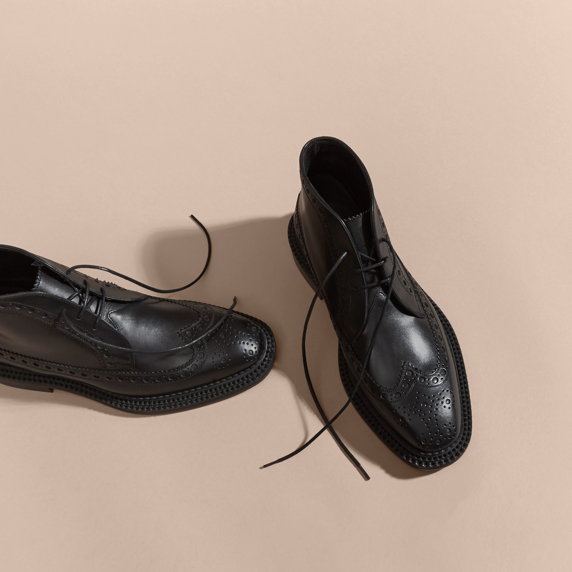 Leather Brogue Boots in Black - Men | Burberry - gallery image 3