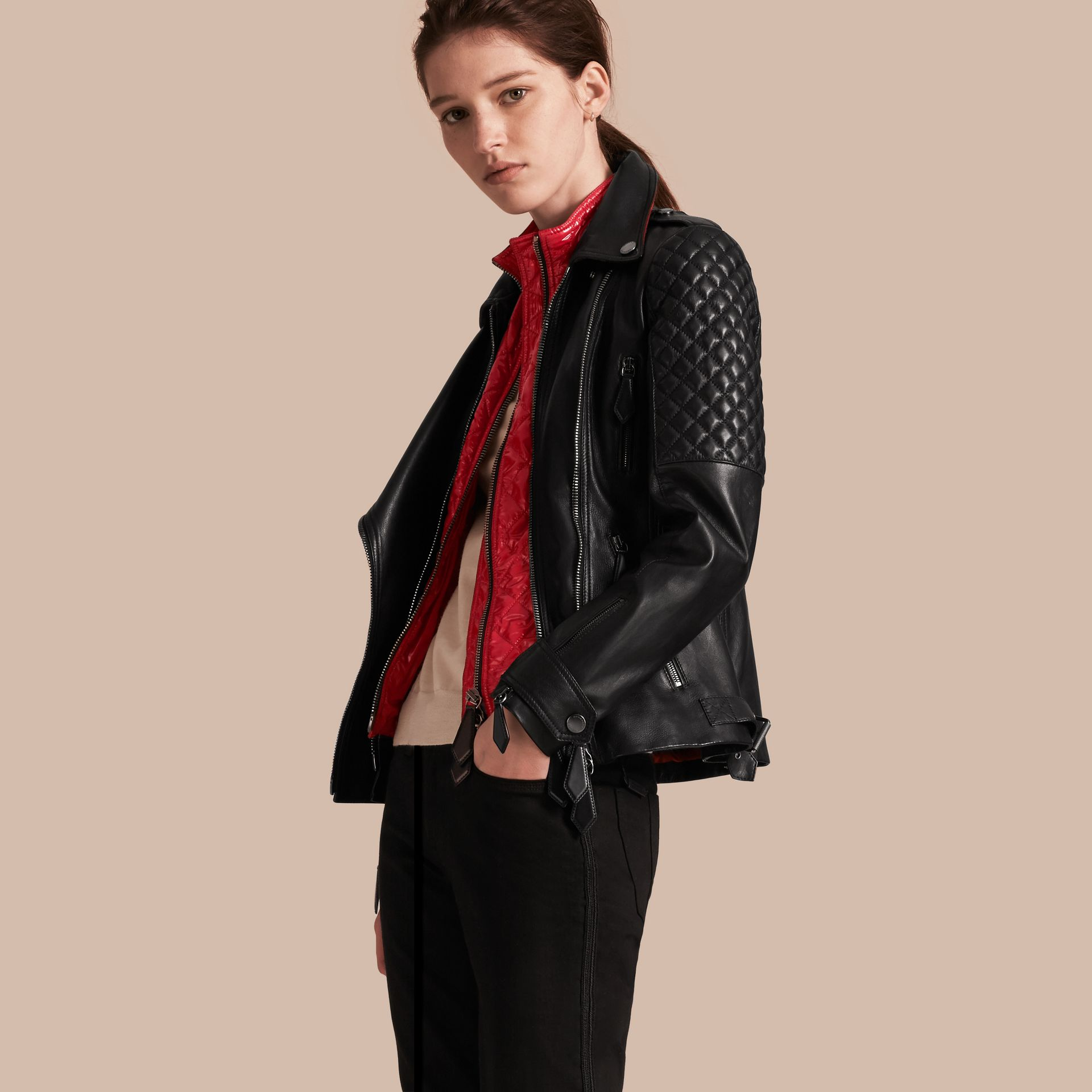 Black Lived-in Lambskin Biker Jacket with Detachable Warmer - gallery image 1