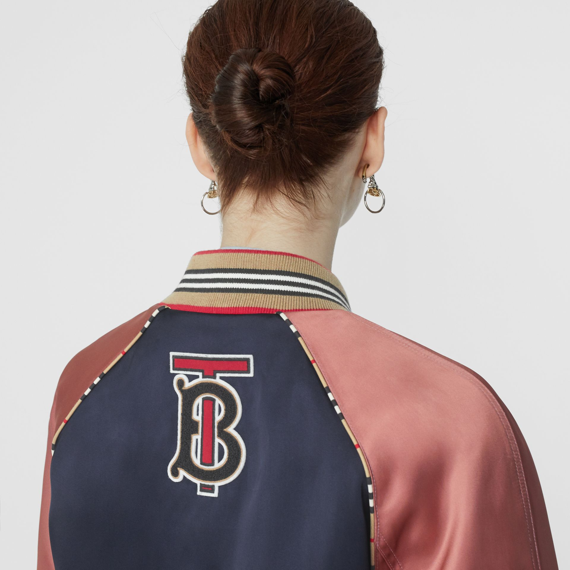 Icon Stripe Detail Monogram Motif Bomber Jacket in Navy/pink - Women | Burberry - gallery image 1