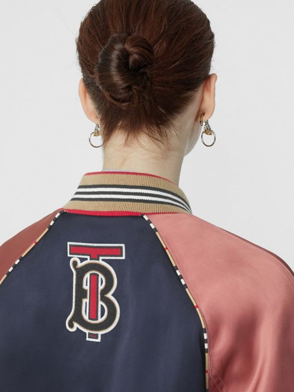 Icon Stripe Detail Monogram Motif Bomber Jacket in Navy/pink - Women | Burberry Australia - cell image 1