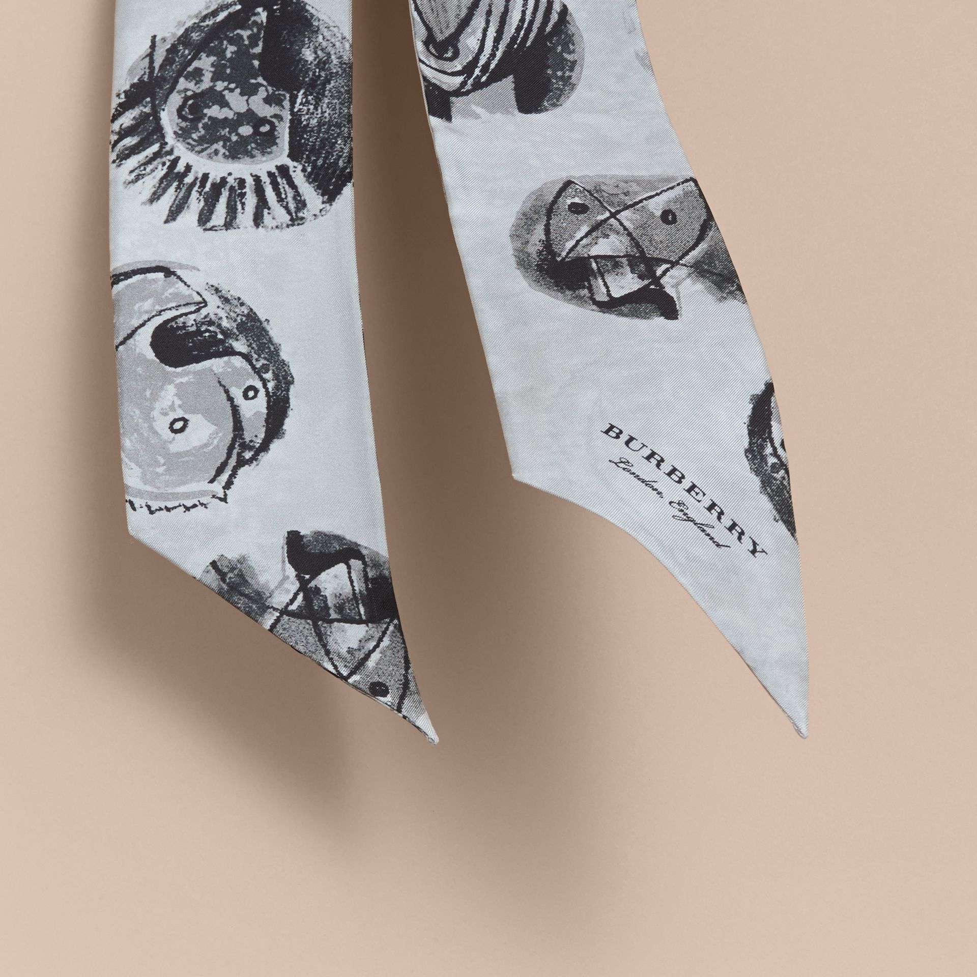 Pallas Heads Print Silk Slim Scarf in Grey - Women | Burberry - gallery image 4